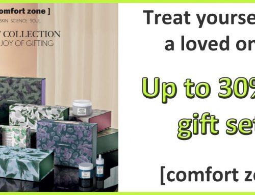 Get up to 30% off natural skin nurturing comfort zone gift sets